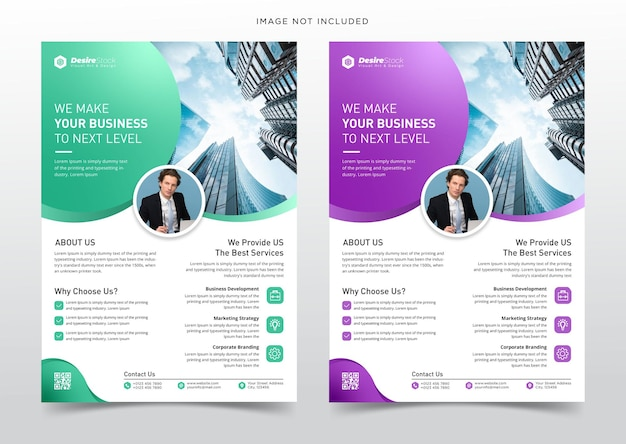 Modèle de conception de flyer d'entreprise et de page de couverture