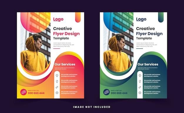 Modèle de conception de flyer moderne coloré dégradé créatif