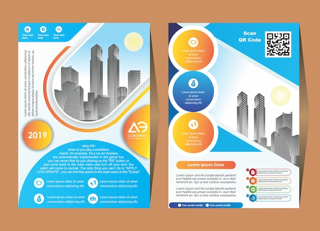 Modèle de conception de flyer pour le rapport annuel