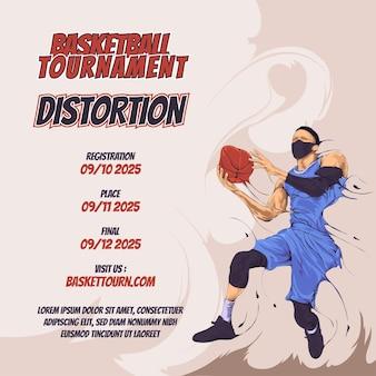 Modèle de conception de flyer de tournoi de basket-ball