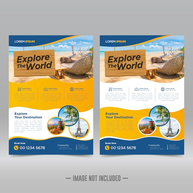 Modèle de conception de flyer de visite et de voyage