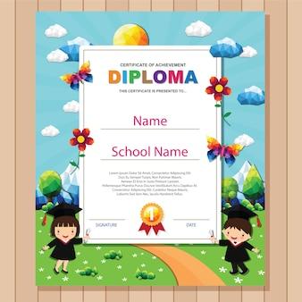Modèle de conception de fond de certificat coloré enfants diplôme