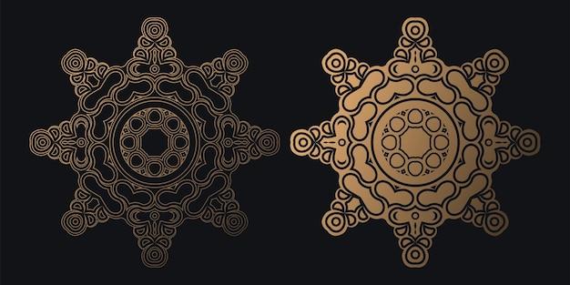 Modèle de conception de fond mandala sombre de luxe