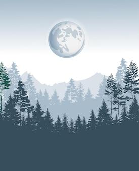 Modèle de conception de forêt de conifères avec des pins
