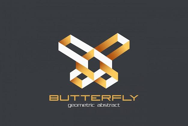 Modèle de conception de forme géométrique abstraite logo papillon.