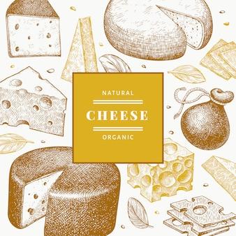 Modèle de conception de fromage. illustration laitière de vecteur dessiné à la main.