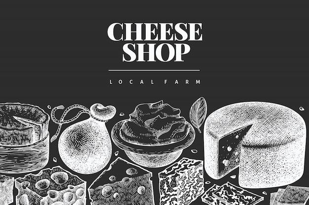 Modèle de conception de fromage. illustration de produits laitiers dessinés à la main à bord de la craie. bannière de différents types de fromage de style gravé. fond de nourriture vintage.