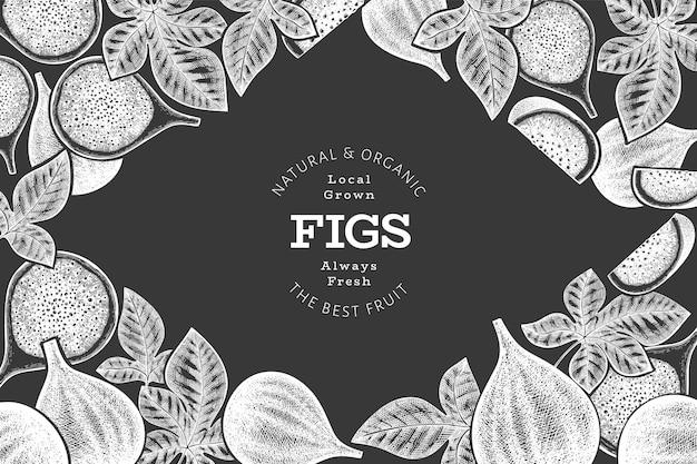 Modèle de conception de fruits figues dessinés à la main. illustration d'aliments frais biologiques à bord de la craie.