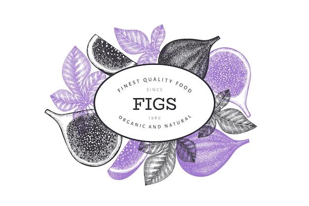 Modèle de conception de fruits figues dessinés à la main. illustration vectorielle d'aliments frais biologiques. bannière de fruits figues rétro.
