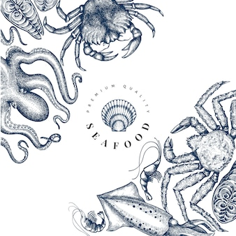 Modèle de conception de fruits de mer. illustration de fruits de mer vecteur dessiné à la main.