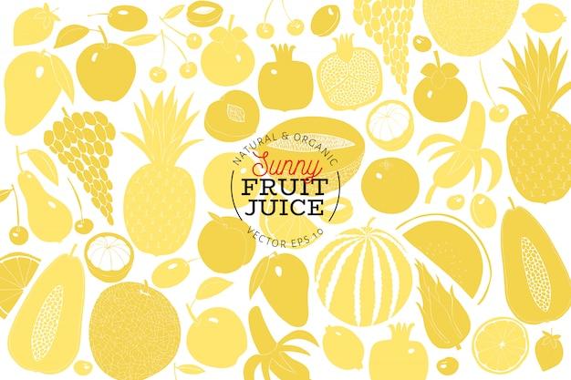 Modèle de conception de fruits scandinave dessinés à la main.
