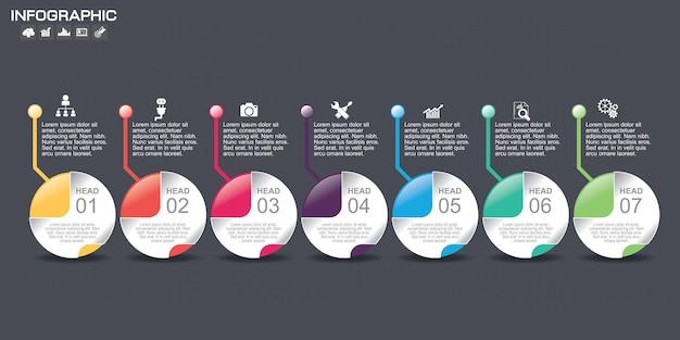 Modèle de conception de graphique infographique de chronologie.