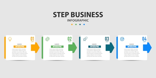 Modèle de conception graphique d'informations élément graphique d'informations commerciales avec 4 options, étapes, conception numérique