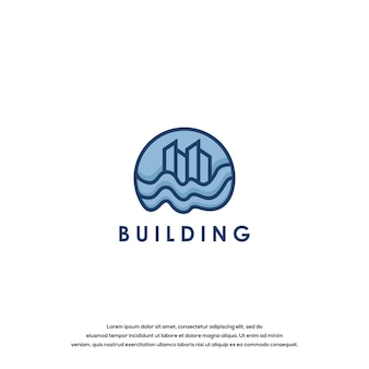 Modèle de conception graphique de logo de bâtiment