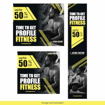 Modèle de conception gym fitness social media post bundle