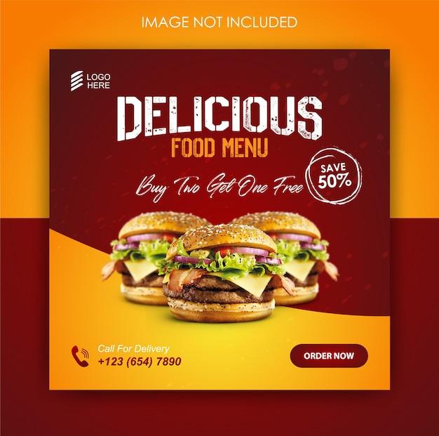 Modèle de conception de hamburger et de promotion des médias sociaux