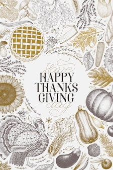 Modèle de conception happy thanksgiving day