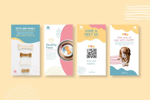 Modèle de conception d'histoires instagram de nourriture animale