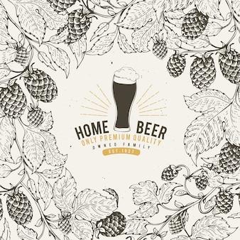 Modèle de conception de houblon de bière. fond de bière vintage.