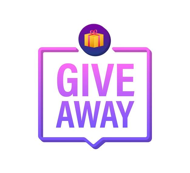 Modèle de conception d'icône de boîte-cadeau conception de typographie de cadeau bannière de gagnant de boîte aux lettres