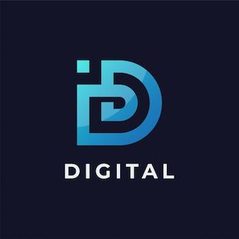 Modèle de conception d'icône lettre id logo