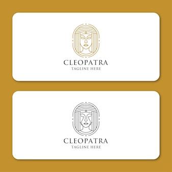 Modèle de conception d'icône de logo d'art de ligne reine égyptienne cléopâtre. luxe élégant