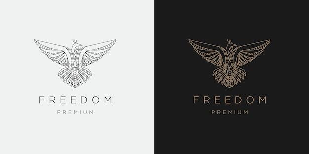 Modèle de conception d'icône de logo de ligne mono liberté oiseau mouche