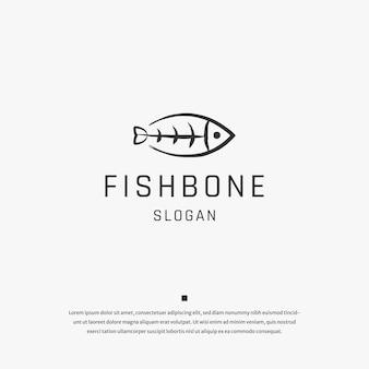 Modèle de conception d'icône de logo d'os de poisson vecteur plat