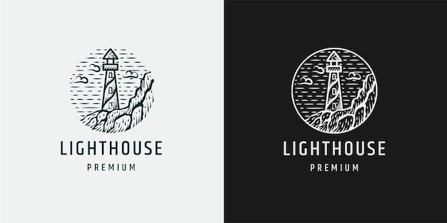 Modèle de conception d'icône logo phare