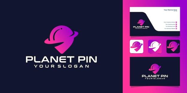Modèle de conception d'icône de logo de pin point de planète et carte de visite