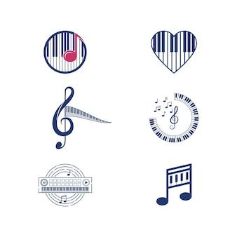 Modèle de conception d'icône de musique de piano vector illustration