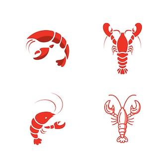 Modèle de conception d'icône vector illustration de crevettes
