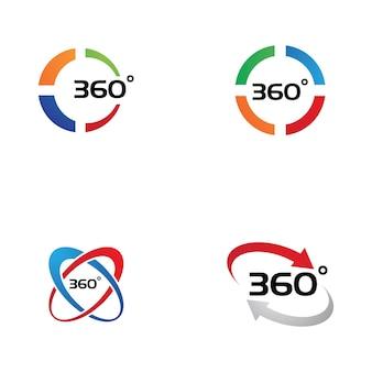 Modèle de conception d'icônes vectorielles connexes à 360 degrés