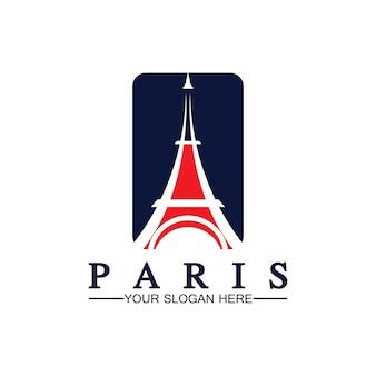 Modèle de conception d'illustrateur d'icône de vecteur de logo de tour de paris et d'eiffel