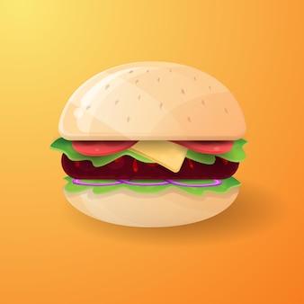 Modèle de conception d'illustration de dessin animé de hamburger