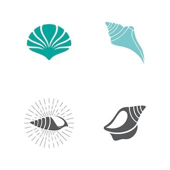 Modèle de conception d'illustration d'icône de vecteur de coquille