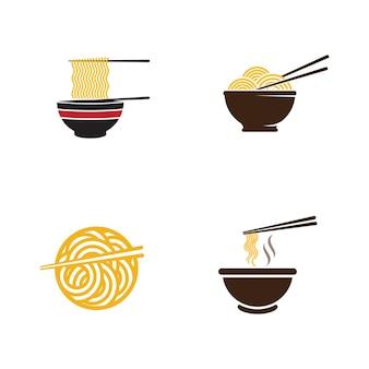 Modèle de conception d'illustration de symbole de signe de nourriture de nouilles