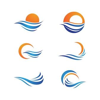 Modèle de conception d'illustration vectorielle d'icône de vague d'eau