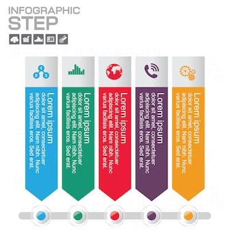 Modèle de conception infographie chronologie avec 5 options, diagramme de processus