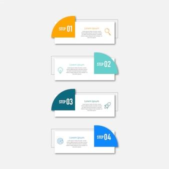 Modèle de conception d'infographie de chronologie des étapes premium