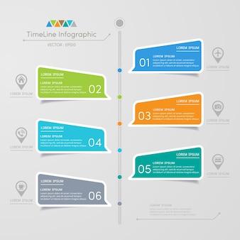 Modèle de conception infographie chronologie avec des icônes