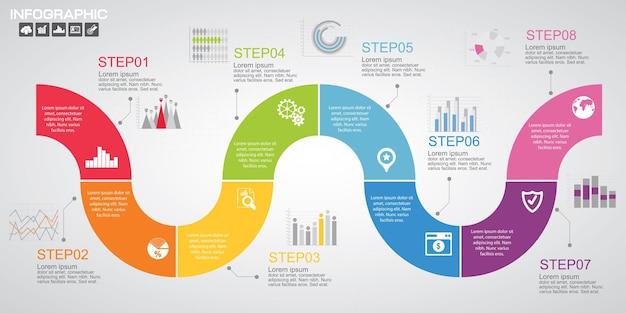 Modèle de conception infographie chronologie avec options, diagramme de processus
