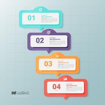 Modèle de conception d'infographie chronologique en 4 étapes.