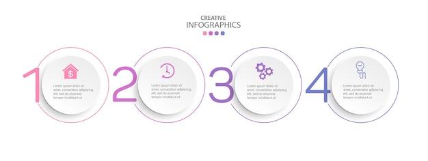 Modèle de conception d'infographie d'entreprise avec 4 options