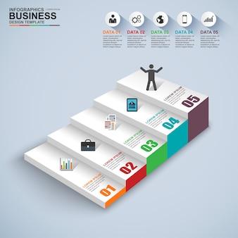 Modèle de conception infographie escalier commercial étape succès vecteur