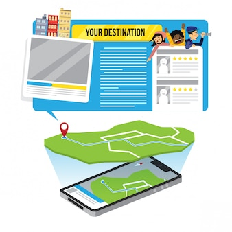 Modèle de conception infographie gps carte illustration