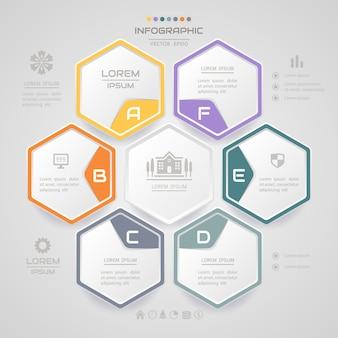 Modèle de conception infographie hexagone avec des icônes