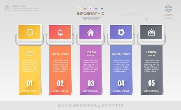 Modèle de conception d'infographie avec des icônes