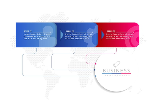 Modèle de conception infographie illustration vectorielle informations marketing avec 3 options ou étapes