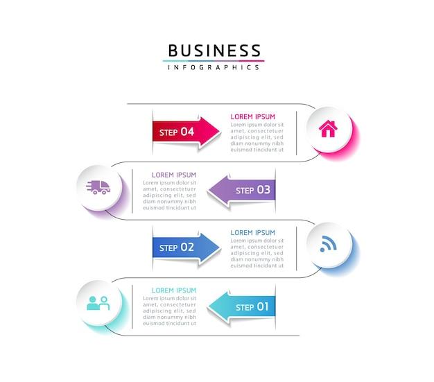 Modèle de conception infographie illustration vectorielle informations marketing avec 4 options ou étapes